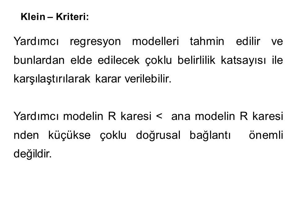 Klein – Kriteri: Yardımcı regresyon modelleri tahmin edilir ve bunlardan elde edilecek çoklu belirlilik katsayısı ile karşılaştırılarak karar verilebilir.