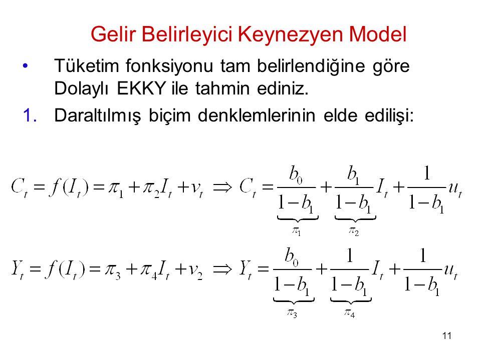 Tüketim fonksiyonu tam belirlendiğine göre Dolaylı EKKY ile tahmin ediniz. 1.Daraltılmış biçim denklemlerinin elde edilişi: Gelir Belirleyici Keynezye