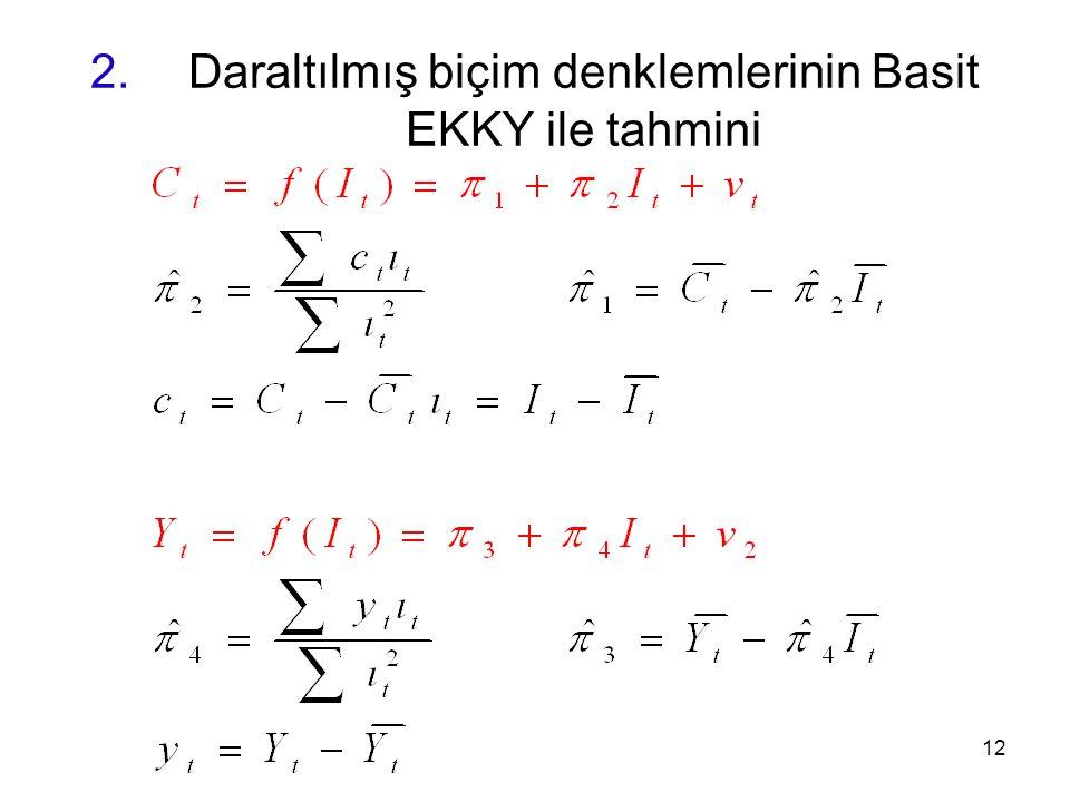 2.Daraltılmış biçim denklemlerinin Basit EKKY ile tahmini 12