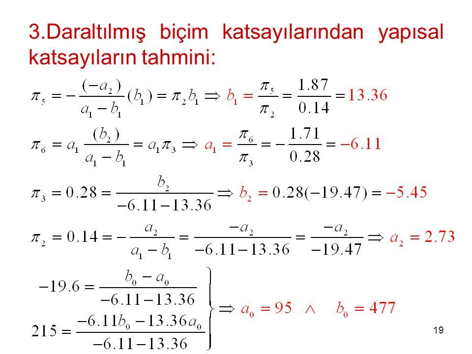 3.Daraltılmış biçim katsayılarından yapısal katsayıların tahmini: 19