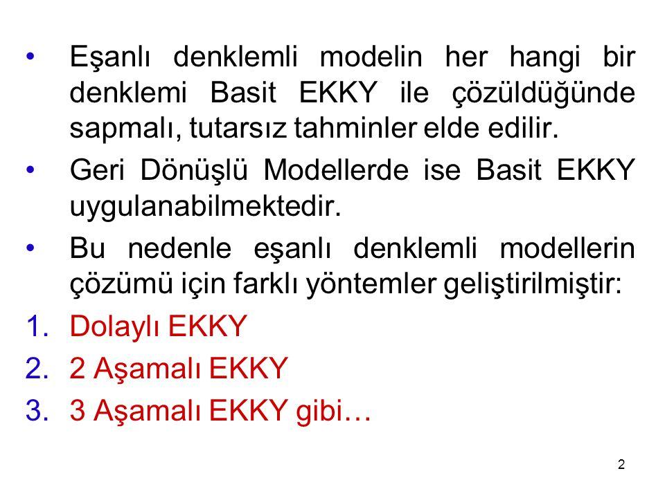 Eşanlı denklemli modelin her hangi bir denklemi Basit EKKY ile çözüldüğünde sapmalı, tutarsız tahminler elde edilir. Geri Dönüşlü Modellerde ise Basit