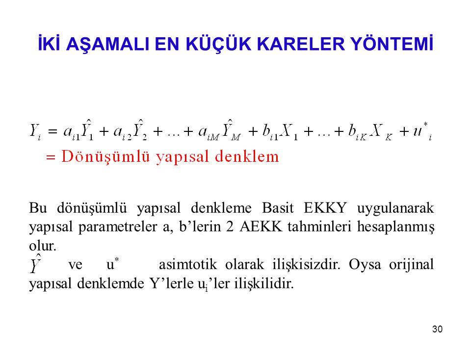 Bu dönüşümlü yapısal denkleme Basit EKKY uygulanarak yapısal parametreler a, b'lerin 2 AEKK tahminleri hesaplanmış olur. ve u * asimtotik olarak ilişk