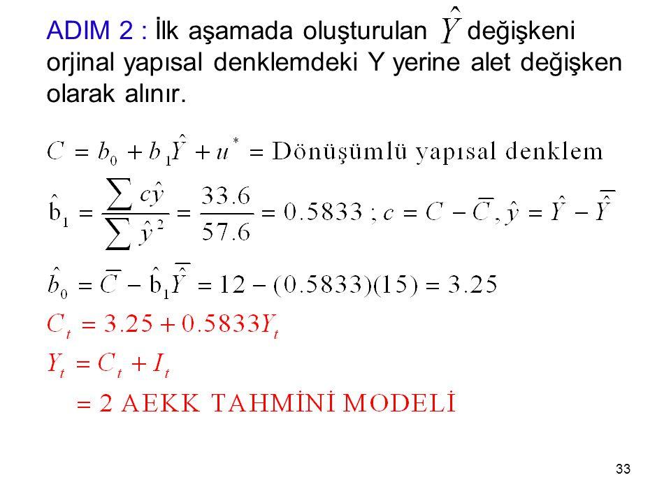 ADIM 2 : İlk aşamada oluşturulan değişkeni orjinal yapısal denklemdeki Y yerine alet değişken olarak alınır. 33