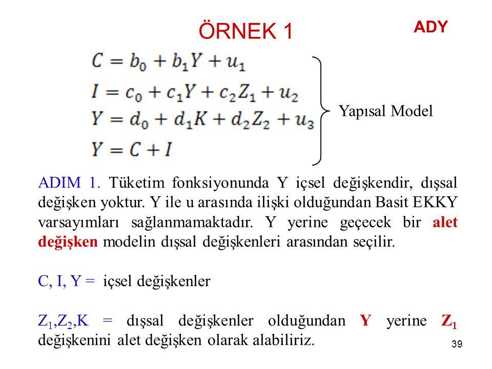 ÖRNEK 1 ADIM 1. Tüketim fonksiyonunda Y içsel değişkendir, dışsal değişken yoktur. Y ile u arasında ilişki olduğundan Basit EKKY varsayımları sağlanma