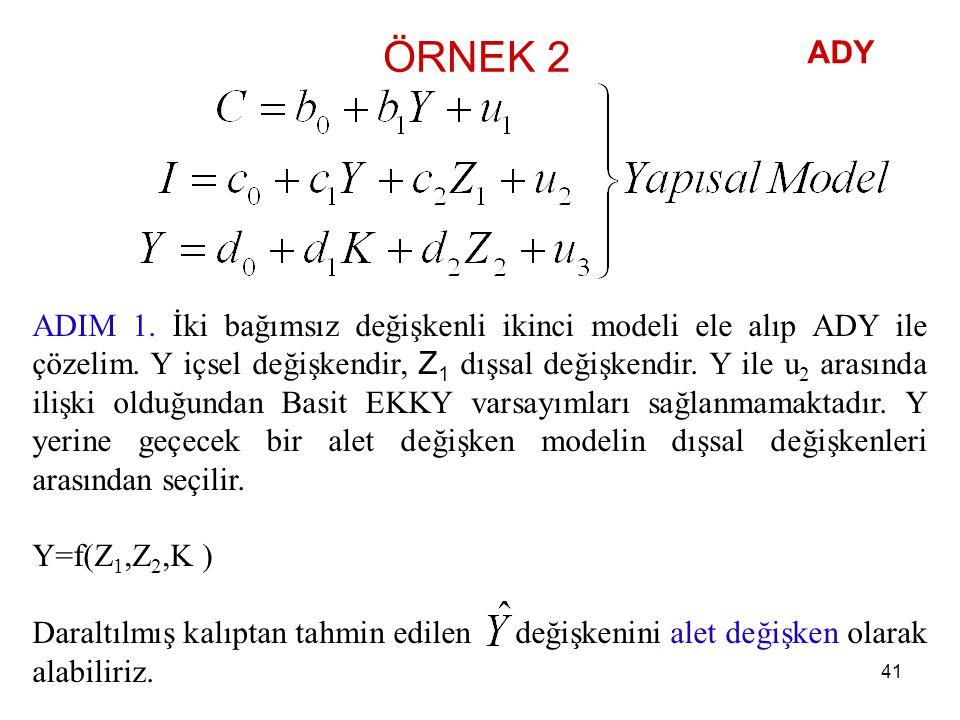 ÖRNEK 2 ADIM 1. İki bağımsız değişkenli ikinci modeli ele alıp ADY ile çözelim. Y içsel değişkendir, Z 1 dışsal değişkendir. Y ile u 2 arasında ilişki