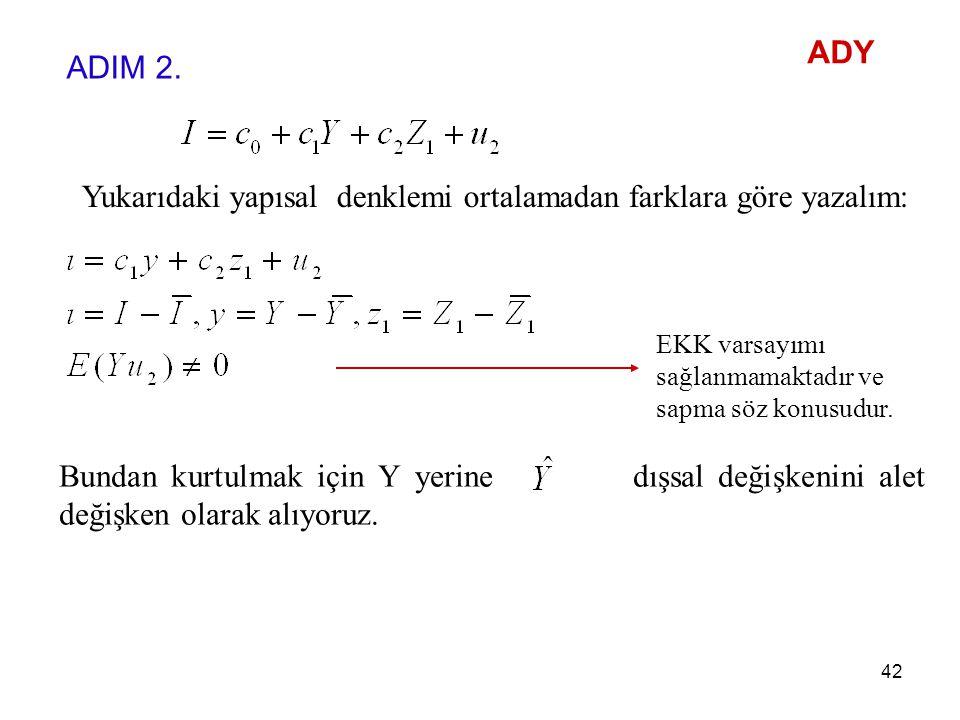 Yukarıdaki yapısal denklemi ortalamadan farklara göre yazalım: EKK varsayımı sağlanmamaktadır ve sapma söz konusudur. Bundan kurtulmak için Y yerine d