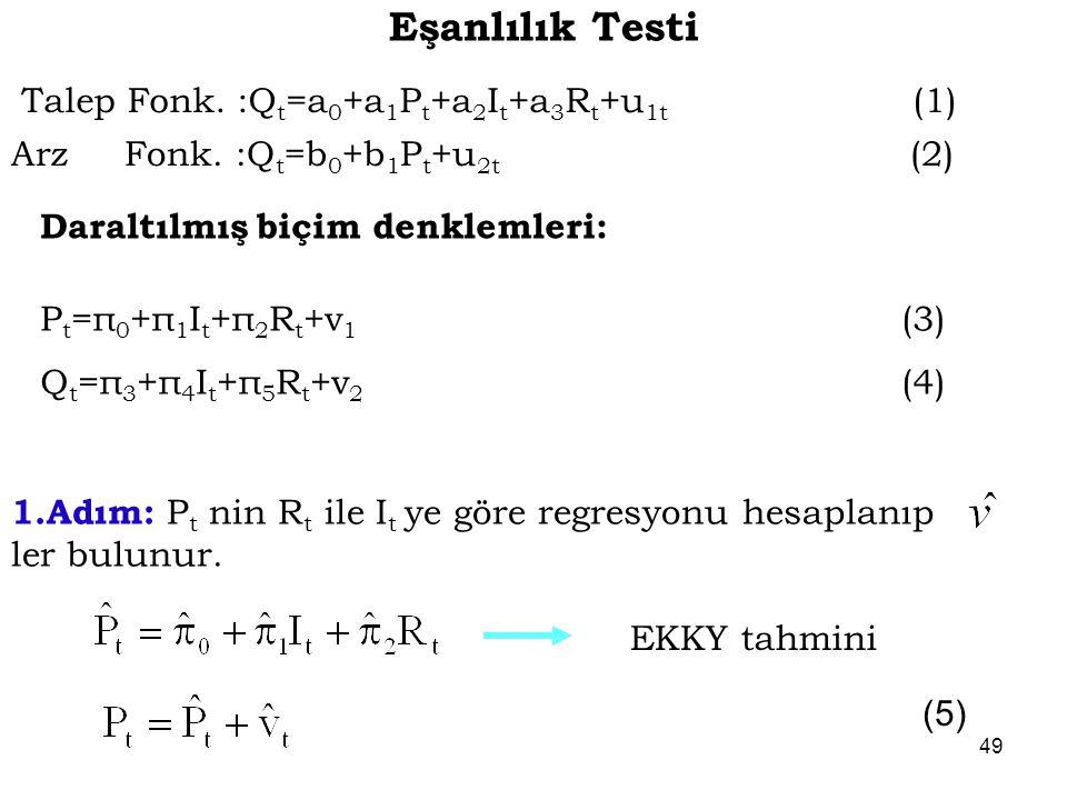 Daraltılmış biçim denklemleri: P t =π 0 +π 1 I t +π 2 R t +v 1 (3) Q t =π 3 +π 4 I t +π 5 R t +v 2 (4) 1.Adım: P t nin R t ile I t ye göre regresyonu