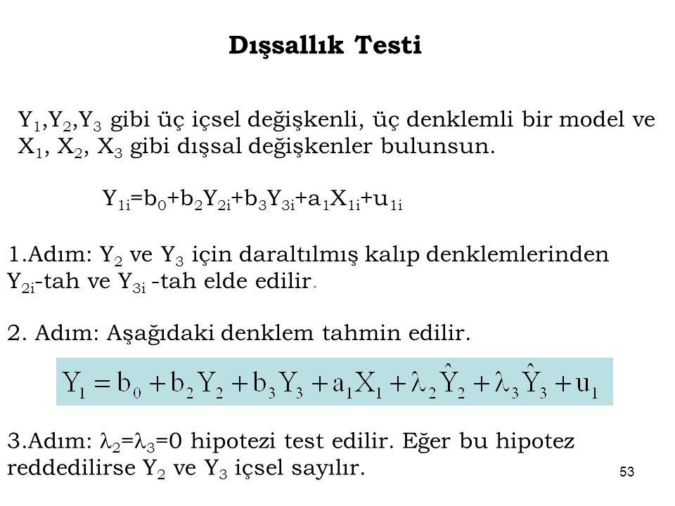 Dışsallık Testi Y 1,Y 2,Y 3 gibi üç içsel değişkenli, üç denklemli bir model ve X 1, X 2, X 3 gibi dışsal değişkenler bulunsun. Y 1i =b 0 +b 2 Y 2i +b