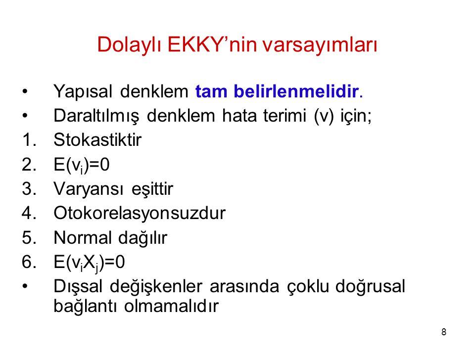 Dolaylı EKKY'nin varsayımları Yapısal denklem tam belirlenmelidir. Daraltılmış denklem hata terimi (v) için; 1.Stokastiktir 2.E(v i )=0 3.Varyansı eşi