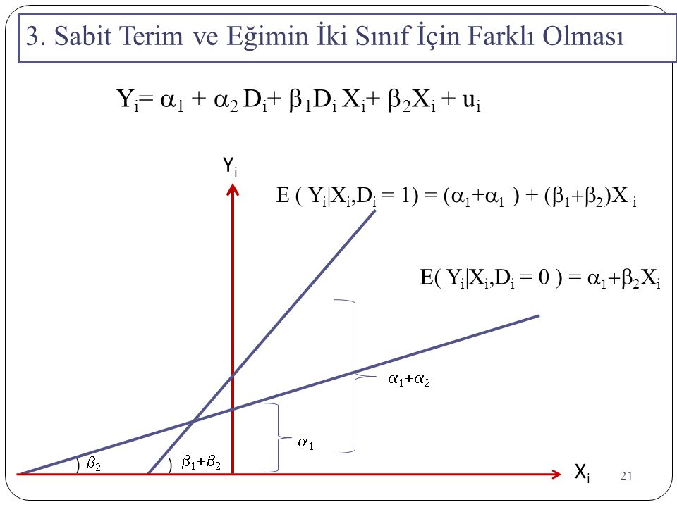 21 YiYi XiXi )  )          E( Y i |X i,D i = 0 ) =    2 X i E ( Y i |X i,D i = 1) = (   +   ) + (    2  X i 3. Sabit Te