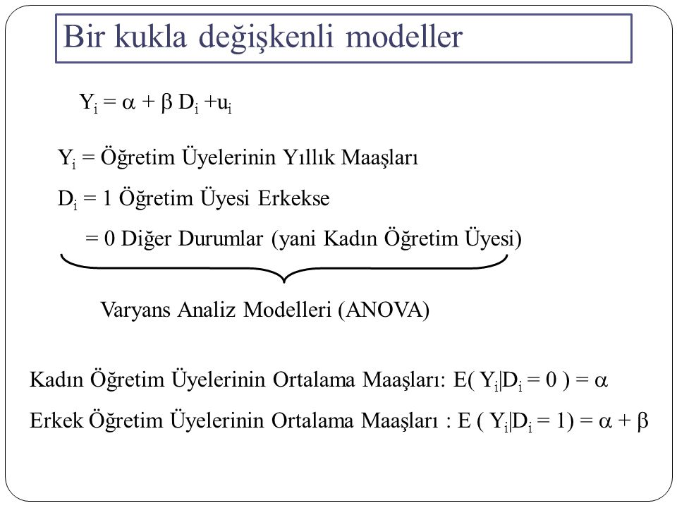 Bir kukla değişkenli modeller Y i =  +  D i +u i Y i = Öğretim Üyelerinin Yıllık Maaşları D i = 1 Öğretim Üyesi Erkekse = 0 Diğer Durumlar (yani Kadın Öğretim Üyesi) Varyans Analiz Modelleri (ANOVA) Kadın Öğretim Üyelerinin Ortalama Maaşları: E( Y i |D i = 0 ) =  Erkek Öğretim Üyelerinin Ortalama Maaşları : E ( Y i |D i = 1) =  + 