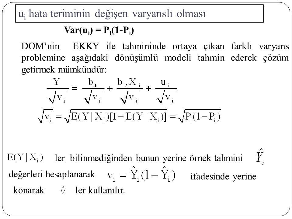 DOM'nin EKKY ile tahmininde ortaya çıkan farklı varyans problemine aşağıdaki dönüşümlü modeli tahmin ederek çözüm getirmek mümkündür: Var(u i ) = P i (1-P i ) u i hata teriminin değişen varyanslı olması ler bilinmediğinden bunun yerine örnek tahmini değerleri hesaplanarak ifadesinde yerine konarakler kullanılır.