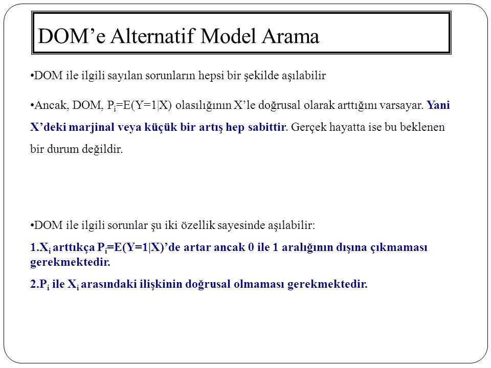 DOM'e Alternatif Model Arama DOM ile ilgili sayılan sorunların hepsi bir şekilde aşılabilir Ancak, DOM, P i =E(Y=1|X) olasılığının X'le doğrusal olara