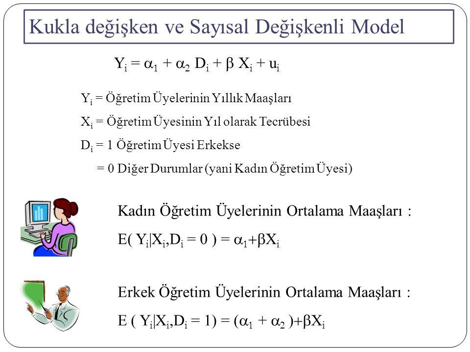 Kukla değişken ve Sayısal Değişkenli Model MaaşCinsiyetTecrübe 22116 19012 18012 21.7115 18.5010 21111 20.5113 1708 17.509 21.2114 Y i =  +  D i + 0.289 X i s(b)(0.95)(0.44)(0.09) (t)(15.843) (5.088)(3.211) p(0.000)(0.002)(0.020) R 2 =0.949