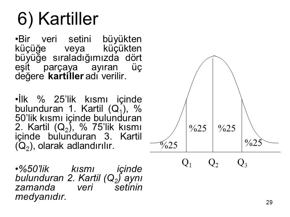 29 6) Kartiller Bir veri setini büyükten küçüğe veya küçükten büyüğe sıraladığımızda dört eşit parçaya ayıran üç değere kartiller adı verilir. İlk % 2