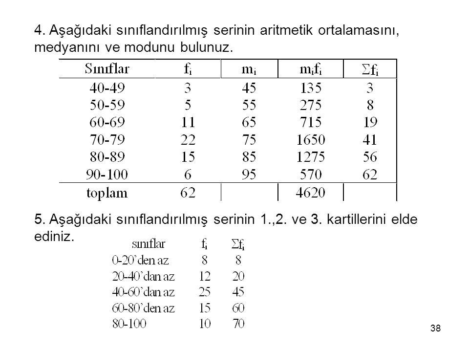 4. Aşağıdaki sınıflandırılmış serinin aritmetik ortalamasını, medyanını ve modunu bulunuz. 5. Aşağıdaki sınıflandırılmış serinin 1.,2. ve 3. kartiller