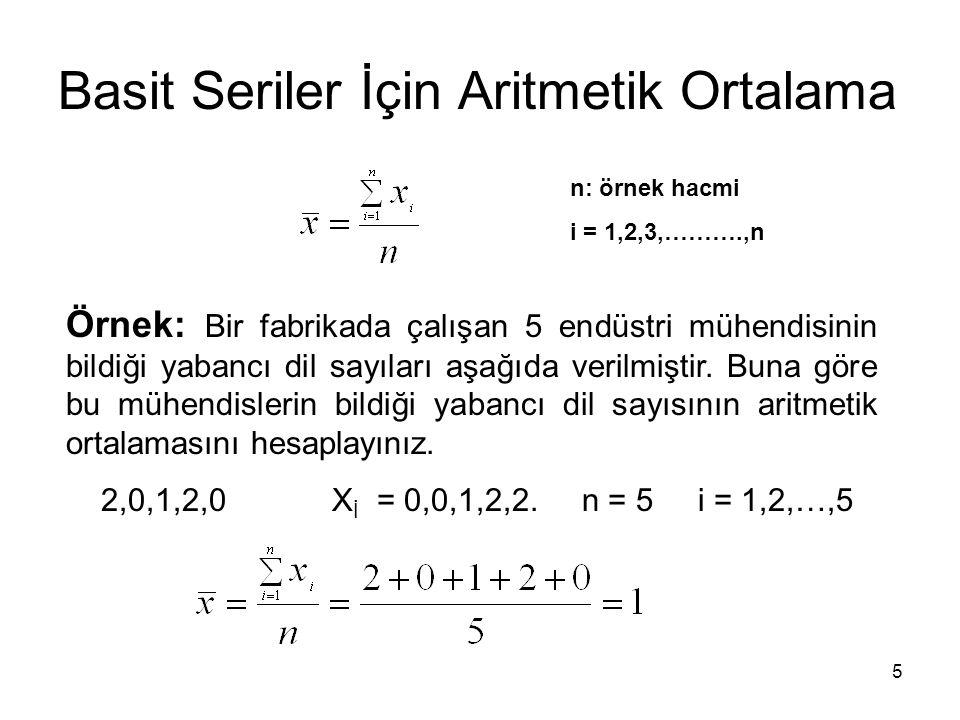 5 Basit Seriler İçin Aritmetik Ortalama n: örnek hacmi i = 1,2,3,……….,n Örnek: Bir fabrikada çalışan 5 endüstri mühendisinin bildiği yabancı dil sayıl