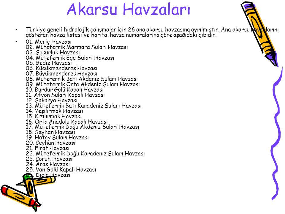 Akarsu Havzaları Türkiye geneli hidrolojik çalışmalar için 26 ana akarsu havzasına ayrılmıştır. Ana akarsu havzalarını gösteren havza listesi ve harit