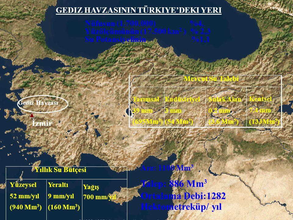 Gediz Havzası Kentsel 7.4 mm (133Mm 3 )  Sulak Alan 0.2 mm (3.6 Mm 3 ) Endüstriyel 3 mm (54 Mm 3 ) Tarımsal 39 mm (695Mm 3 ) Mevcut Su Talebi Yera