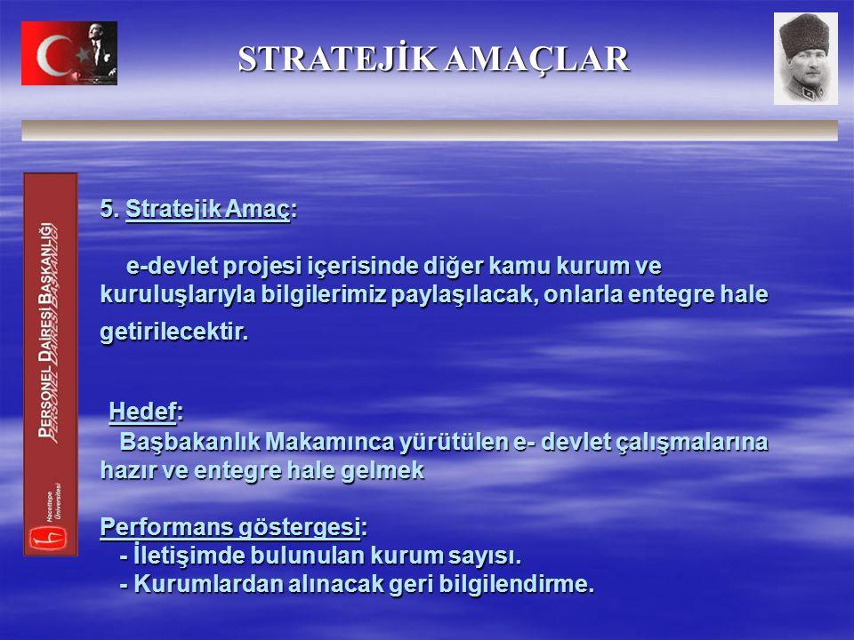 5. Stratejik Amaç: e-devlet projesi içerisinde diğer kamu kurum ve kuruluşlarıyla bilgilerimiz paylaşılacak, onlarla entegre hale getirilecektir. Hede