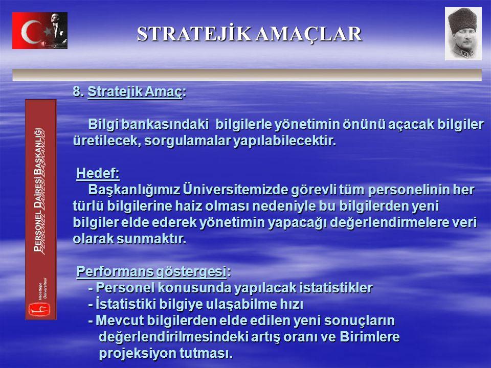 8. Stratejik Amaç: Bilgi bankasındaki bilgilerle yönetimin önünü açacak bilgiler üretilecek, sorgulamalar yapılabilecektir. Hedef: Başkanlığımız Ünive