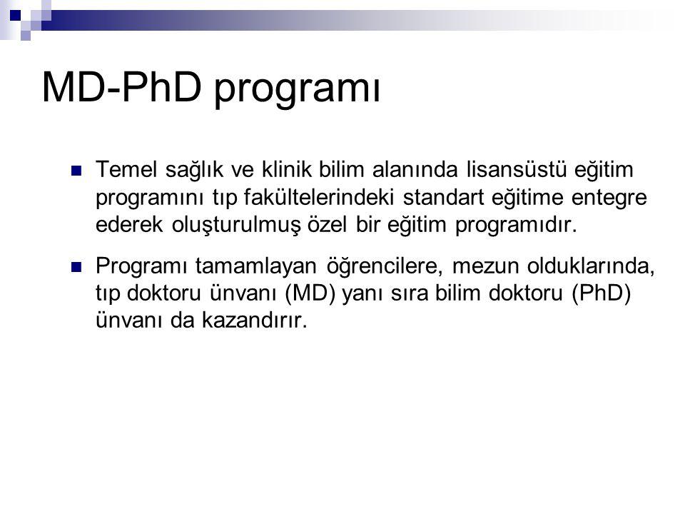 MD-PhD programı Temel sağlık ve klinik bilim alanında lisansüstü eğitim programını tıp fakültelerindeki standart eğitime entegre ederek oluşturulmuş özel bir eğitim programıdır.