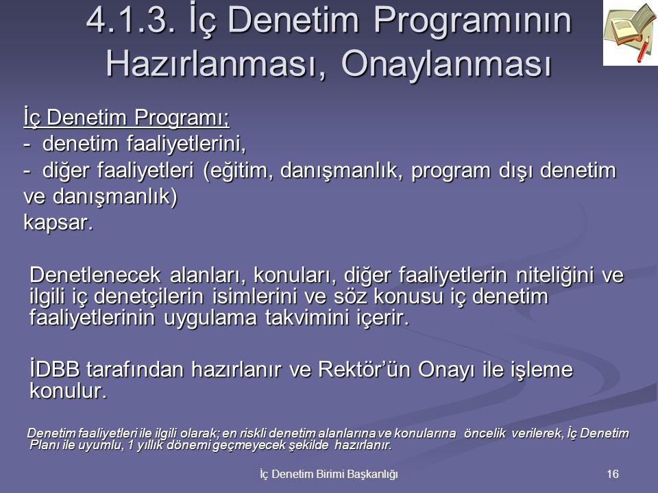 16İç Denetim Birimi Başkanlığı 4.1.3. İç Denetim Programının Hazırlanması, Onaylanması İç Denetim Programı; - denetim faaliyetlerini, - diğer faaliyet