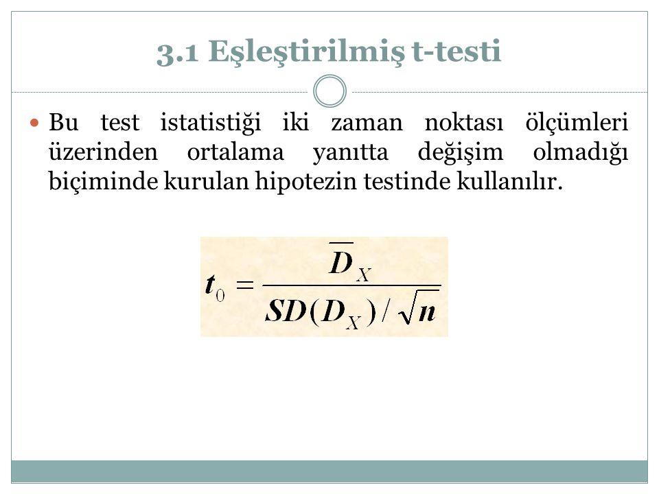 3.1 Eşleştirilmiş t-testi Bu test istatistiği iki zaman noktası ölçümleri üzerinden ortalama yanıtta değişim olmadığı biçiminde kurulan hipotezin test