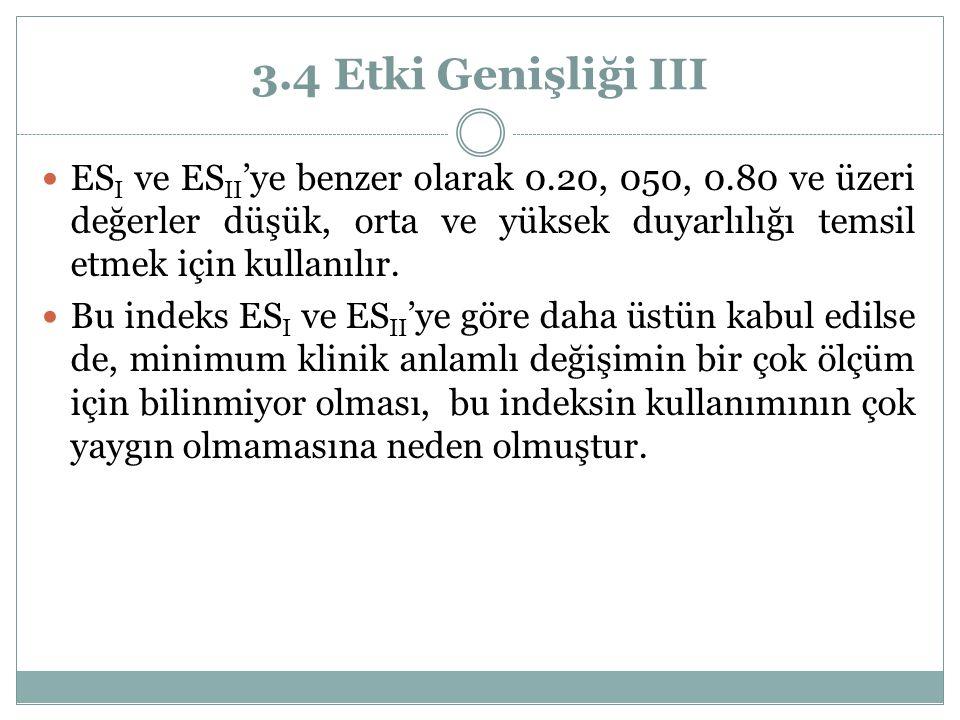 3.4 Etki Genişliği III ES I ve ES II 'ye benzer olarak 0.20, 050, 0.80 ve üzeri değerler düşük, orta ve yüksek duyarlılığı temsil etmek için kullanılı