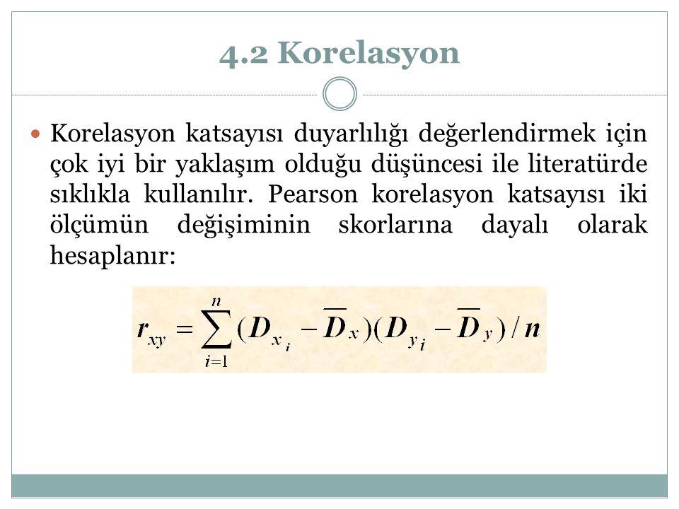 4.2 Korelasyon Korelasyon katsayısı duyarlılığı değerlendirmek için çok iyi bir yaklaşım olduğu düşüncesi ile literatürde sıklıkla kullanılır. Pearson