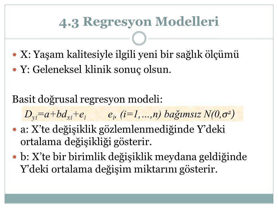 4.3 Regresyon Modelleri X: Yaşam kalitesiyle ilgili yeni bir sağlık ölçümü Y: Geleneksel klinik sonuç olsun. Basit doğrusal regresyon modeli: a: X'te