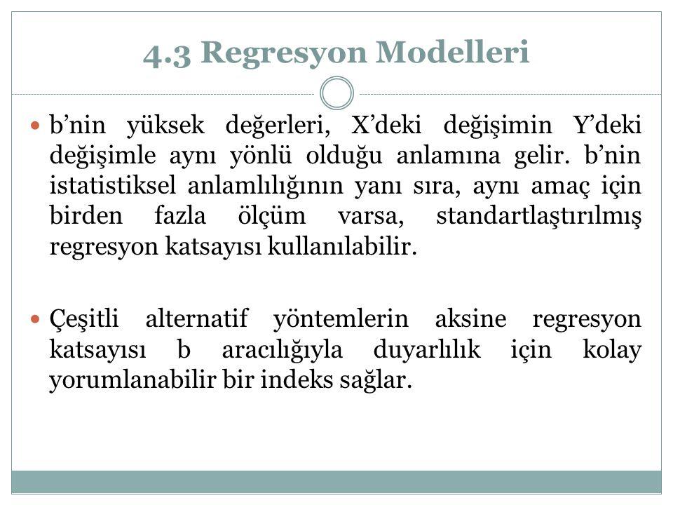 4.3 Regresyon Modelleri b'nin yüksek değerleri, X'deki değişimin Y'deki değişimle aynı yönlü olduğu anlamına gelir. b'nin istatistiksel anlamlılığının