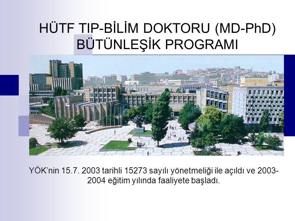 HÜTF TIP-BİLİM DOKTORU (MD-PhD) BÜTÜNLEŞİK PROGRAMI YÖK'nin 15.7. 2003 tarihli 15273 sayılı yönetmeliği ile açıldı ve 2003- 2004 eğitim yılında faaliy