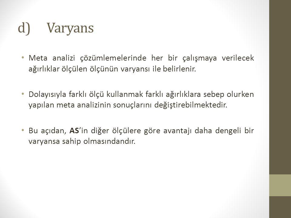 d)Varyans Meta analizi çözümlemelerinde her bir çalışmaya verilecek ağırlıklar ölçülen ölçünün varyansı ile belirlenir.