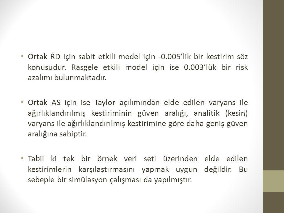 Ortak RD için sabit etkili model için -0.005'lik bir kestirim söz konusudur.