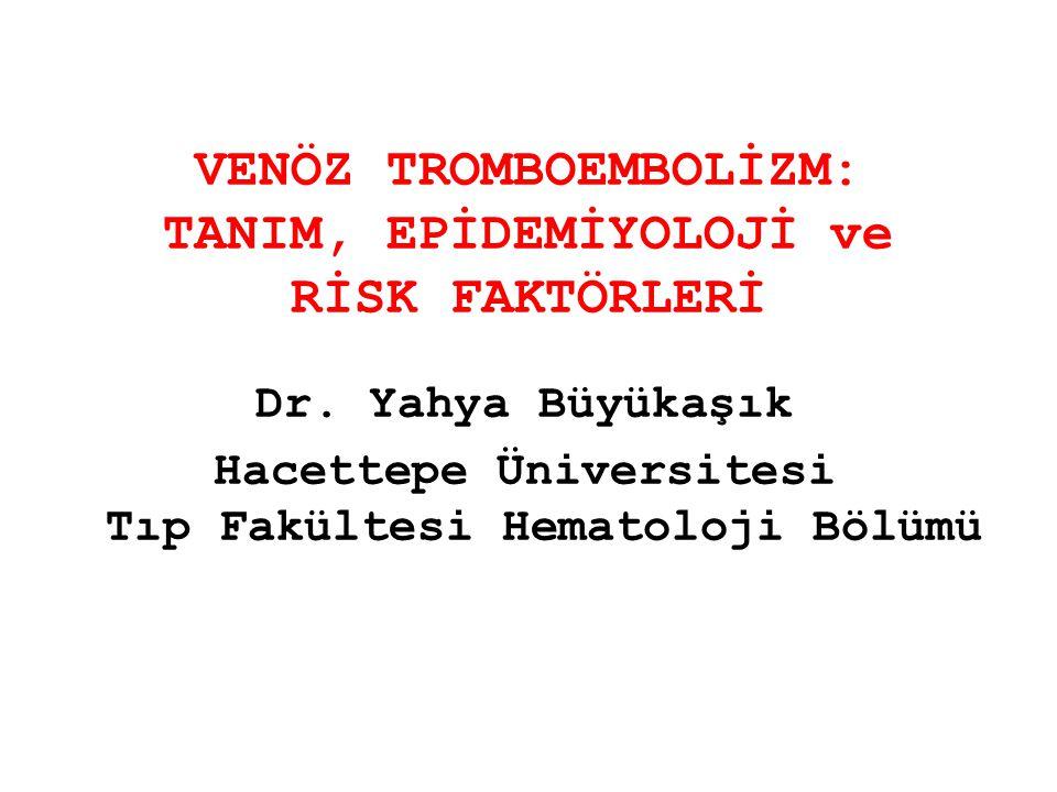 Tromboz yeri Hasta Sayısı Heterozigot FVL Homozigot FVLPTG20210A FVL + PTG20210A DVT a 632033b3b 4 DVT+PTE 83131 DVT+PTE + Serebral 511c1c -1 PTE 114-1- Sinovenöz 41--- Portal Ven 25311- Mezenterik Ven 4--1- Budd-Chiari 4---- Renal Ven+Rekürren AV Fistül Tıkanması 21--- TOTAL12638 (% 26.2)7 (% 4.8)10 (7.1)6 (% 4.8) a 4 hastada ayrıca yüzeyel ven trombozu da vardı b 1 hastada ayrıca portal ven trombozu da vardı c Bu hastada ayrıca miyokard infarktüsü de vardı VENÖZ TROMBOEMBOLİZMLİ HASTALARDA FAKTÖR V LEİDEN ve PROTROMBİN 20210A MUTASYONLARININ PREVELANSLARI (Gürgey A ve ark.