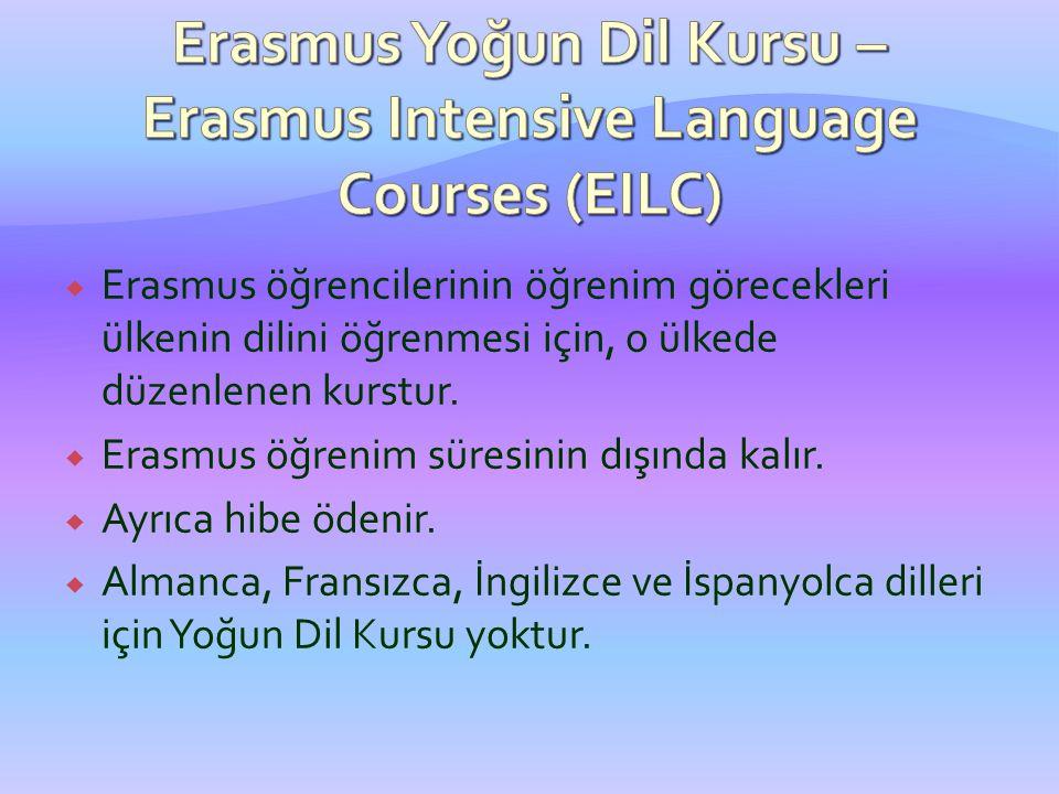  Erasmus öğrencilerinin öğrenim görecekleri ülkenin dilini öğrenmesi için, o ülkede düzenlenen kurstur.  Erasmus öğrenim süresinin dışında kalır. 
