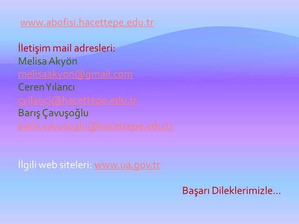 www.abofisi.hacettepe.edu.tr İletişim mail adresleri: Melisa Akyön melisaakyon@gmail.com Ceren Yılancı cyilanci@hacettepe.edu.tr Barış Çavuşoğlu baris