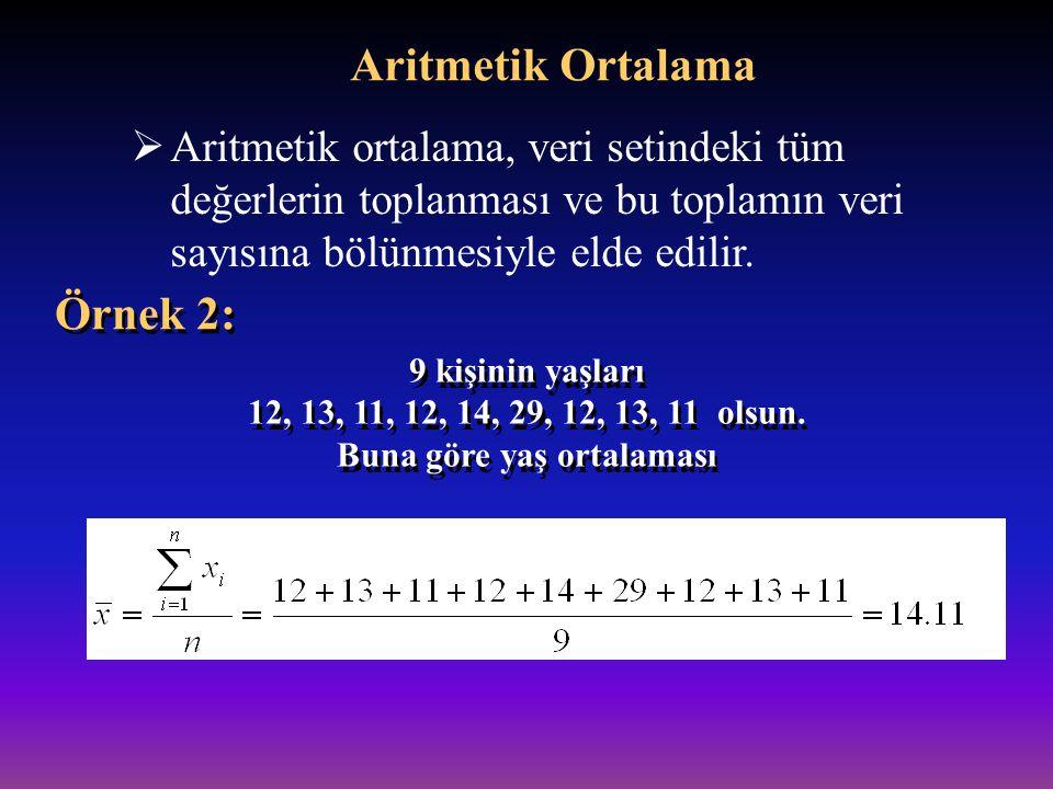  Aritmetik ortalama dağılımdaki tüm değerleri dikkate alır.