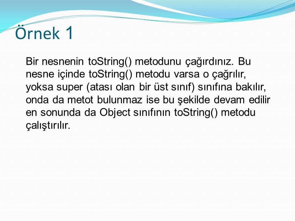 Örnek 1 Bir nesnenin toString() metodunu çağırdınız.