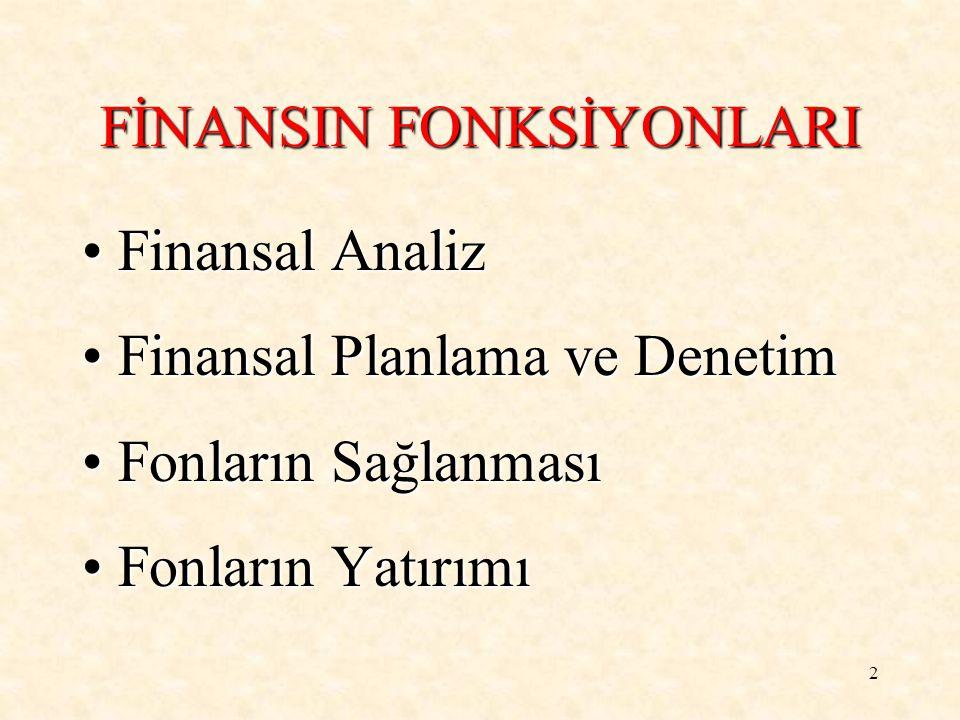 2 FİNANSIN FONKSİYONLARI Finansal AnalizFinansal Analiz Finansal Planlama ve DenetimFinansal Planlama ve Denetim Fonların SağlanmasıFonların Sağlanması Fonların YatırımıFonların Yatırımı