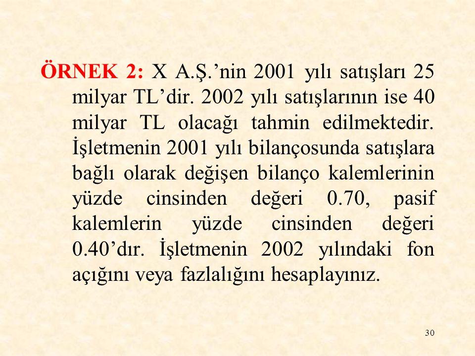 30 ÖRNEK 2: X A.Ş.'nin 2001 yılı satışları 25 milyar TL'dir.