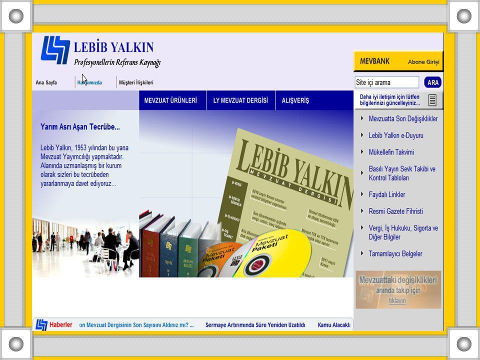 LEBİB YALKIN-MEVBANK Lebib Yalkın tarafından 1996 yılında geliştirilmiş olan Mevbank, güncel mevzuata elektronik ortamda ulaşılmasını sağlayan bir mevzuat bilgi bankası programıdır.