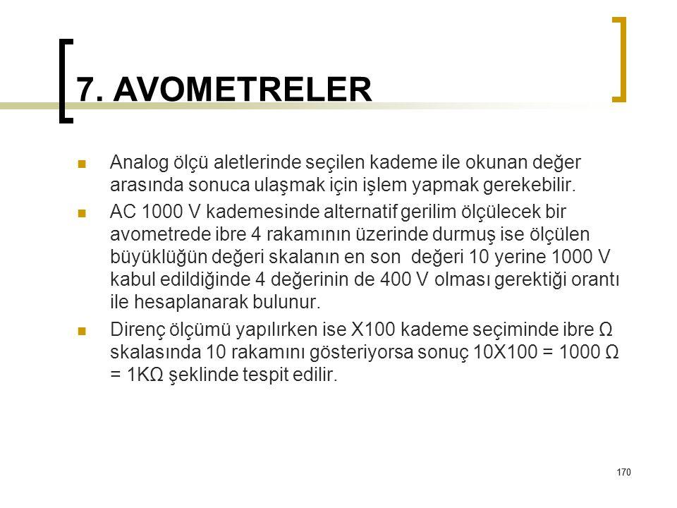 170 7. AVOMETRELER Analog ölçü aletlerinde seçilen kademe ile okunan değer arasında sonuca ulaşmak için işlem yapmak gerekebilir. AC 1000 V kademesind