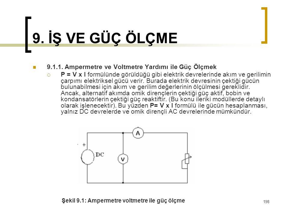 198 9. İŞ VE GÜÇ ÖLÇME 9.1.1. Ampermetre ve Voltmetre Yardımı ile Güç Ölçmek  P = V x I formülünde görüldüğü gibi elektrik devrelerinde akım ve geril