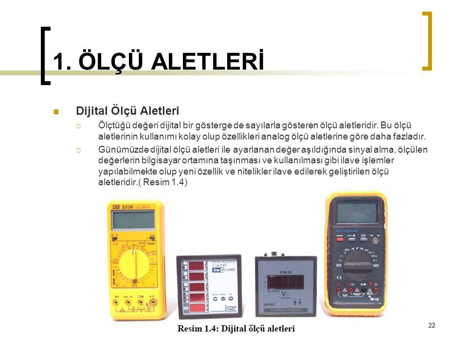 22 1. ÖLÇÜ ALETLERİ 22 Dijital Ölçü Aletleri  Ölçtüğü değeri dijital bir gösterge de sayılarla gösteren ölçü aletleridir. Bu ölçü aletlerinin kullanı