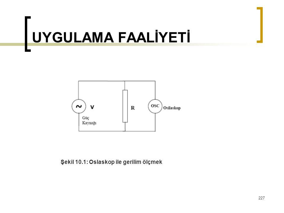 227 UYGULAMA FAALİYETİ Şekil 10.1: Oslaskop ile gerilim ölçmek
