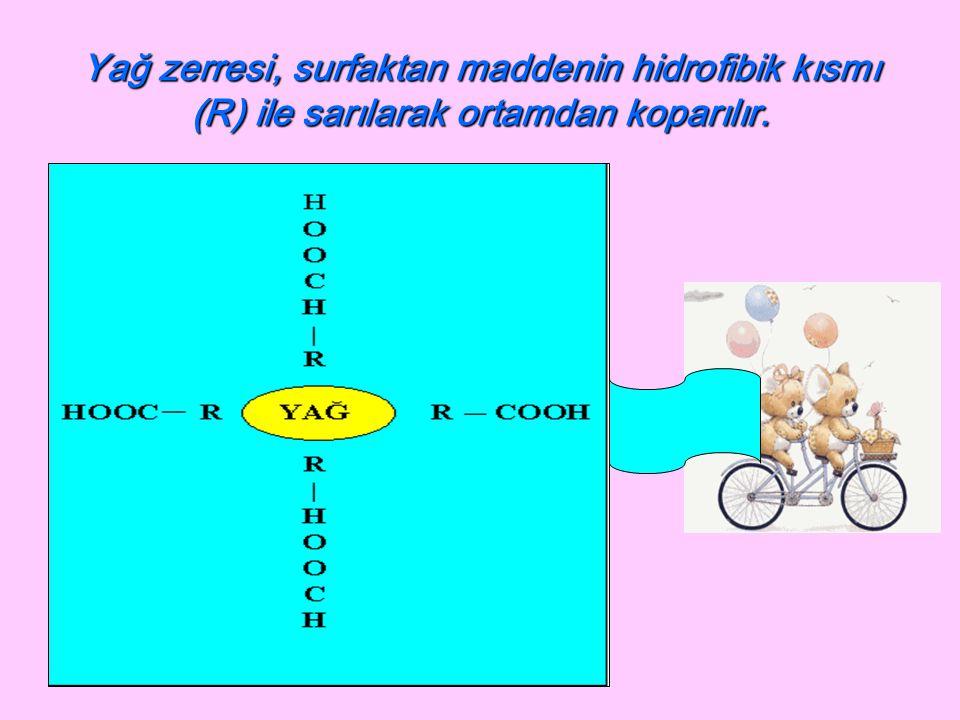 Yağ zerresi, surfaktan maddenin hidrofibik kısmı (R) ile sarılarak ortamdan koparılır.