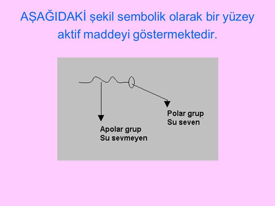 AŞAĞIDAKİ şekil sembolik olarak bir yüzey aktif maddeyi göstermektedir.
