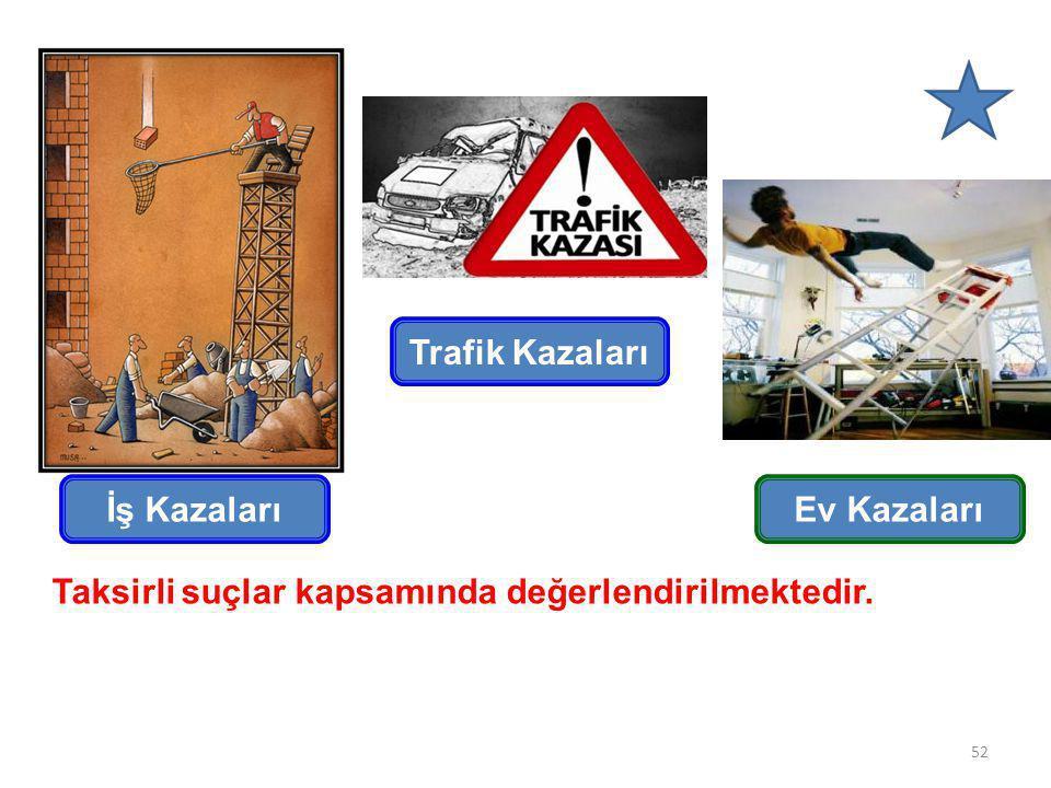 İş Kazaları Trafik Kazaları Ev Kazaları Taksirli suçlar kapsamında değerlendirilmektedir. 52